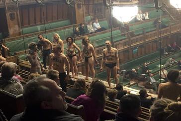 Activistas de Extinction Rebellion, en la Cámara de los Comunes.