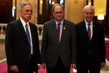El presidente Torra y Vicenç Aguilera (derecha) mantuvieron una reunión el pasado 21 de abril en el Parlament con Chase Carey, presidente ejecutivo de la F1