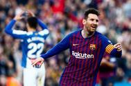 Leo Messi celebra su segundo ante el Espanyol en la pasada jornada de liga