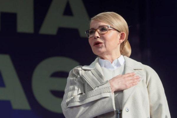 La ex primera ministra Yulia Timoshenko, durante un evento de su campaña en Kiev, el pasado viernes