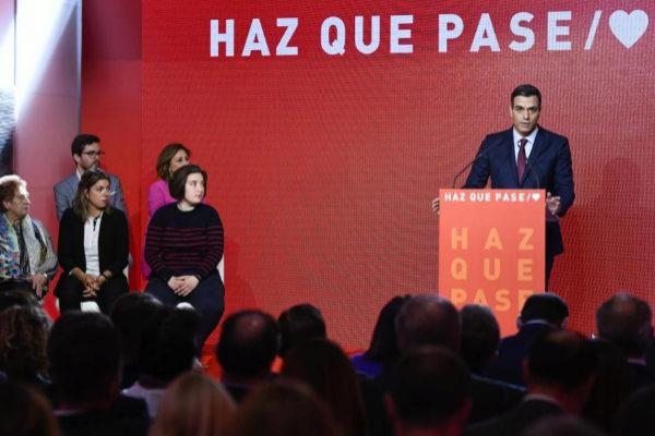 Pedro Sánchez, en la presentación de la campaña del PSOE.