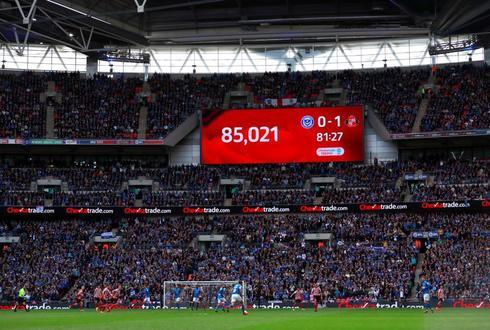 Imagen del estadio de Wembley durante el encuentro entre Porsmouth y Sunderland el pasado 31 de marzo