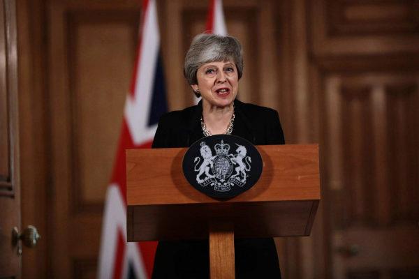La 'premier' británica, Theresa May, esta tarde.