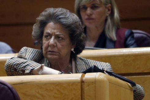 Rita Barberá, en su escaño en el Senado.