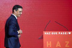 Pedro Sánchez, durante la presentación del lema de campaña