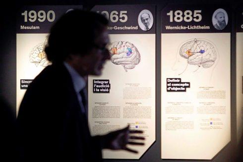 El director del Área de Divulgación Científica de CosmoCaixa, Jordi Portabella, ayer, durante la presentación de la exposición 'Talking Brains'.