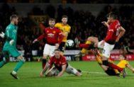 La acción del gol de Smalling en propia puerta ante De Gea.