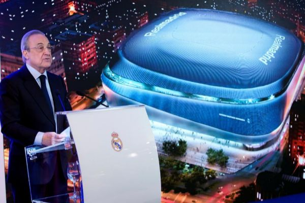 Real Madrid president <HIT>Florentino</HIT> <HIT>Perez</HIT> speaks during the presentation of a project to modernise the Santiago Bernabeu Stadium at Santiago Bernabeu Stadium in Madrid