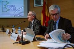 El director general de la Agencia Tributaria, Jesús Gascón Catalán (izda.), y el director de Gestión Tributaria, Gonzalo David