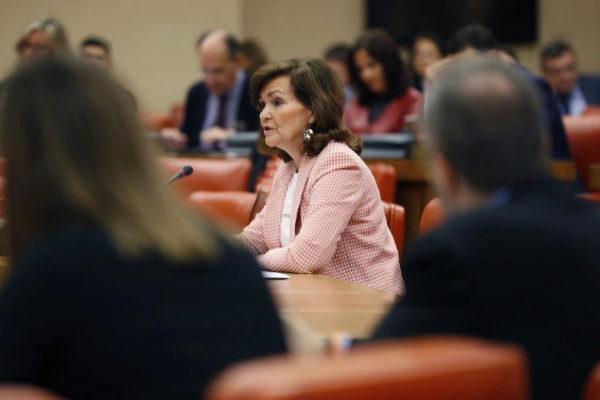 La vicepresidenta, Carmen Calvo, en la Diputación Permanente.