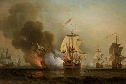 El galeón San José en el momento de explotar, pintado por Samuel Scott en el mismo siglo XVIII.