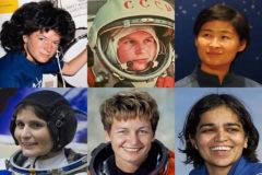 De izquierda a derecha y de arriba abajo, Sally Ride (EEUU), Valentina Tereshkova (URSS), Liu Yang (China), Samantha Cristoforetti (Italia), Peggy Whitson (EEUU) y Kalpana Chawla (India).