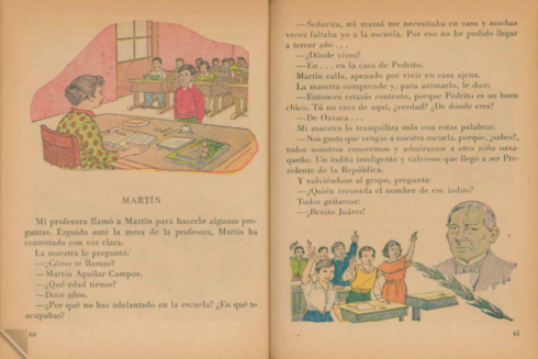 En la página 61 se refiere al presidente mexicano Benito Juárez como un 'indito' inteligente.