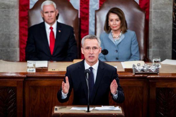 El secretario general de la OTAN, Jens Stoltenberg, durante su discurso en el Congreso estadounidense.