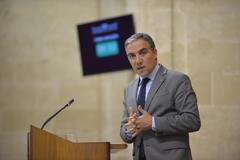 Elías Bendodo, consejero de Presidencia, durante su intervención en el Parlamento andaluz.