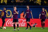 Vidal, Arthur, Busquets y Lenglet, el martes contra el Villarreal.
