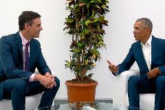 Pedro Sánchez y Barack Obama, durante su encuentro en Sevilla