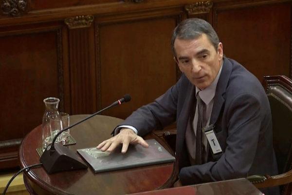 El comisario de los Mossos Juan Carlos Molinero, durante su declaración.