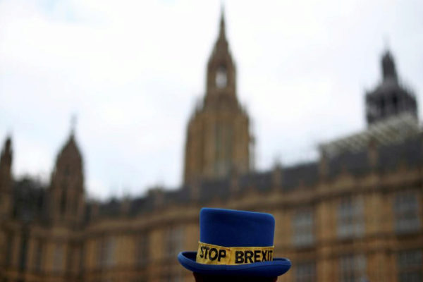 Anti-<HIT>Brexit</HIT> protester Steve Bray demonstrates outside the...
