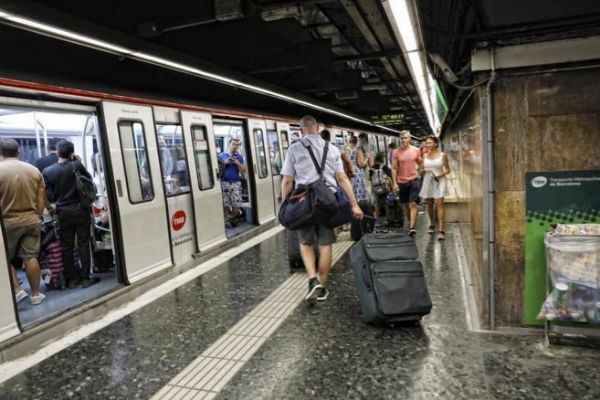 Andén de metro en Barcelona