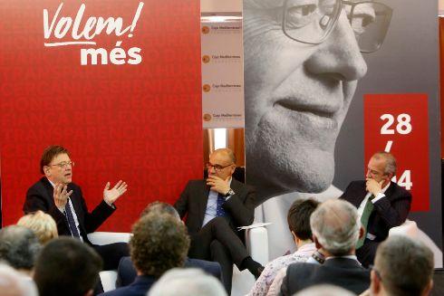 Ximo Puig, junto al rector de la UA, Manuel Palomar, y el presidente de CEV Alicante, Perfecto Palacio, ayer en Alicante