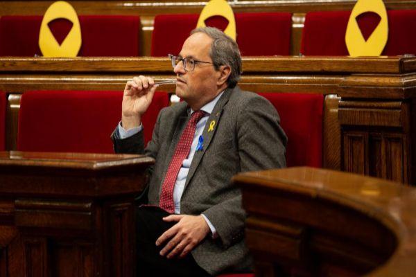 El presidente de la Generalitat de Cataluña, Quim <HIT>Torra</HIT>, durante el pleno