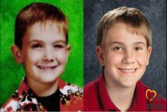 A la izquierda una foto de Timmothy Pitzen poco antes de desaparecer. A la derecha una reconstrucción que hizo la organización Missing Kids de cómo se vería en la actualidad.