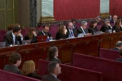 Los abogados de los acusados, durante la sesión de hoy.
