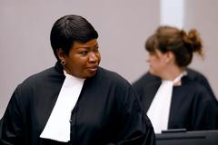 FILE PHOTO: Public Prosecutor <HIT>Bensouda</HIT> attends the trial of Congolese warlord Ntaganda at the ICC in the Hague