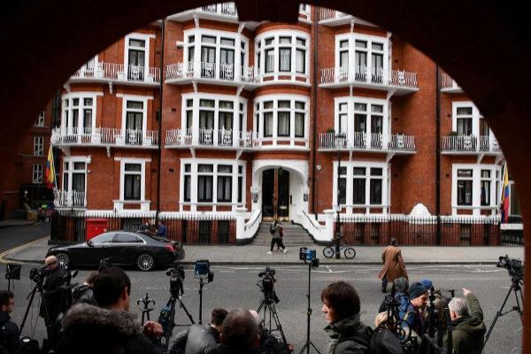 Fachada de la embajada ecuatoriana en Londres.