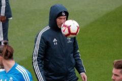 Zidane, durante el entrenamiento del Real Madrid.