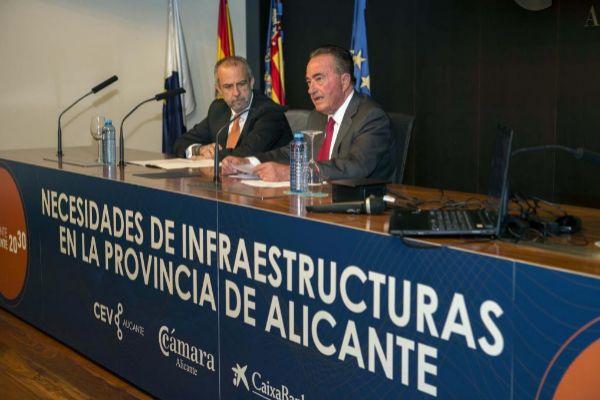 Los presidentes de CEV Alicante, Perfecto Palacio, y de la Cámara de Comercio, Juan Riera, ayer.