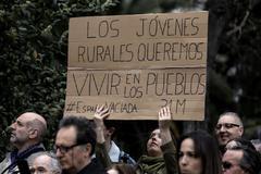 Pancarta en la manifestación de la 'revuelta de la España vaciada', el domingo pasado, en Madrid.