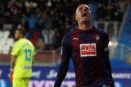 Pedro León tras anotar el tanto de la victoria ante el Rayo