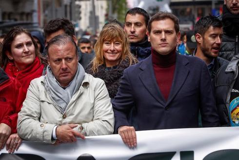Albert Rivera, durante la concentración organizada por Jusapol