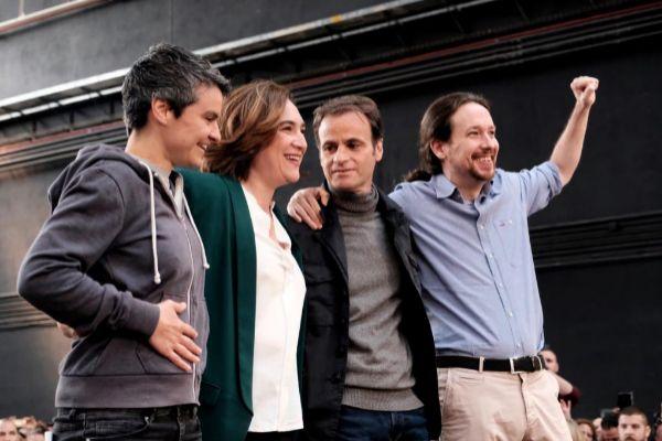 Jordi Soteras Catalunya Barcelona 06/04/2019 Acto de En Comu Podem en la Farga de Hospitalet con Pablo <HIT>Iglesias</HIT> la alcaldesa Ada Colau y J.Asens Foto Jordi Soteras