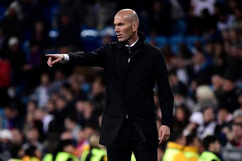 Real Madrid's French coach Zinedine <HIT>Zidane</HIT> reacts during the Spanish League football match between Real Madrid CF and SD Huesca at the Santiago Bernabeu stadium in Madrid on March 31, 2019. (Photo by JAVIER SORIANO / AFP)