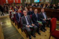 Los políticos secesionistas, durante el juicio del 1-O