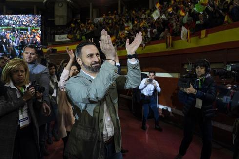 Santiago Abascal, en el acto de Vox en Leganés