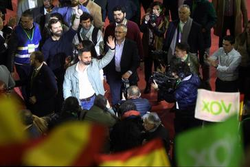 Santiago Abascal, a su llegada a Leganés al acto de Vox