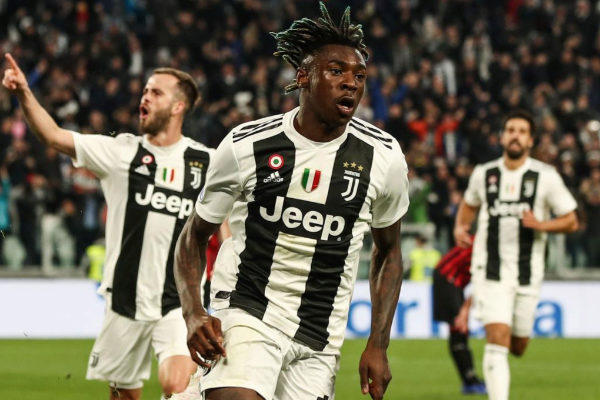 Moise Kean celebra el gol de la victoria de la Juve ante el Milan.