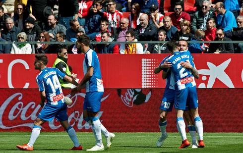 Los jugadores del Espanyol celebran la victoria