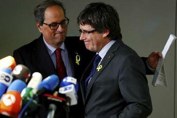 Torra, junto a Puigdemont en una visita a Bruselas.