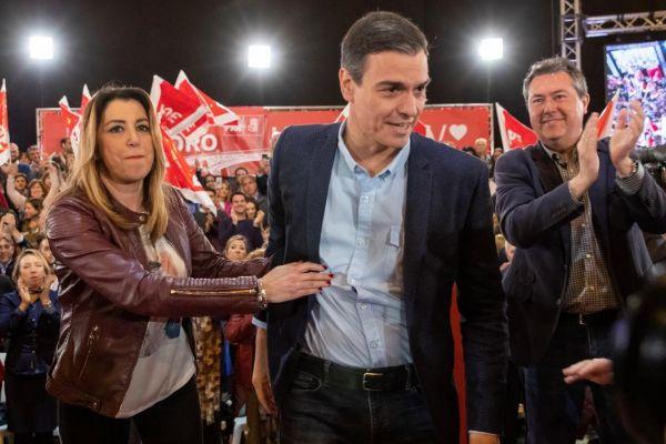 Pedro Sánchez y Susana Díaz, en el mitin del PSOE en Sevilla el pasado sábado