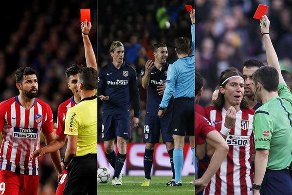 De izda a dcha: Costa, Torres y Filipe, expulsados.
