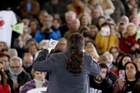 Pablo Iglesias, durante un acto de Podemos en Gijón
