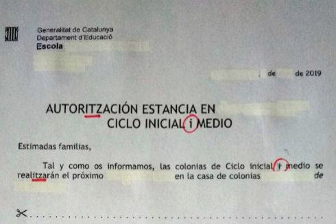 Faltas de ortografía en documentos de la Generalitat
