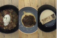De primero, pisto con huevo poché; de segundo carrillera de ternera estofada con puré de patatas; y de postre, pudin casero con natillas.