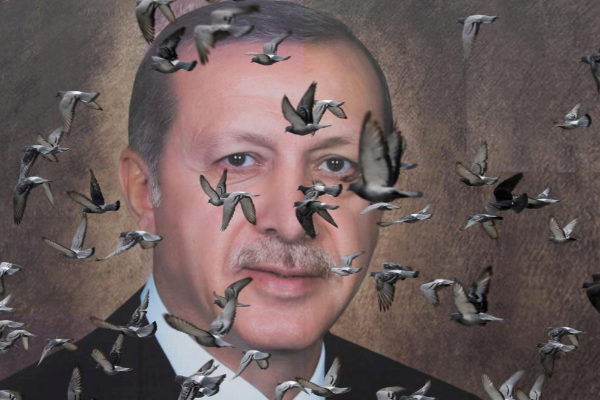 Pigeons fly in front of a large poster of Turkish President Tayyip...