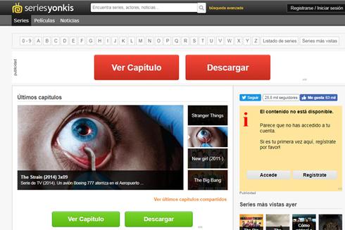 Portada de seriesyonkis.com, este lunes.